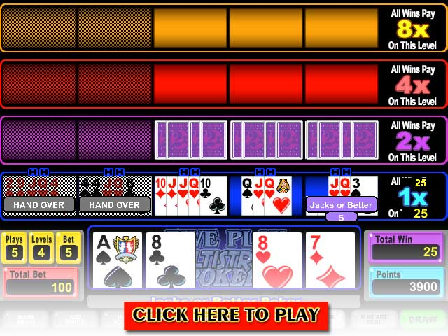 Click to Play Five Play Multi-Strike Poker